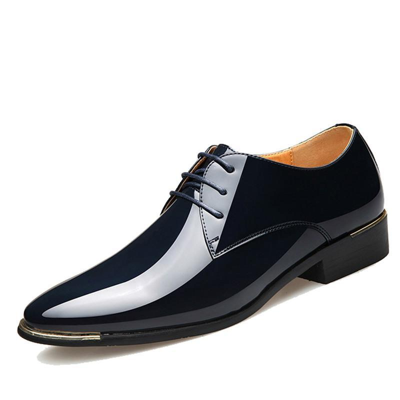 2020 Newly Men's Quality Patent Leather Shoes Black Leather Soft loafers shoes men SY-30