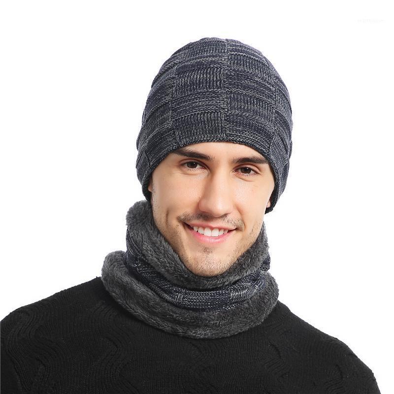 Beanie do inverno chapéu para homens mulheres chapéu cachecol quente lenço conjunto masculino fêmea conjunto 2 pcs culares beanies1
