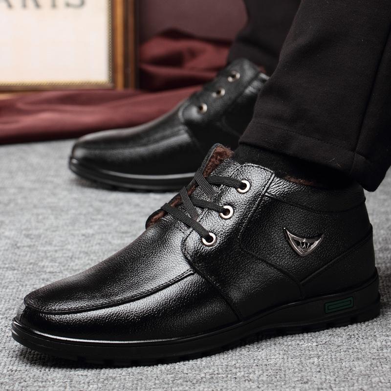y5cMl 2020 yeni erkek erkek kış sıcak Peluş Sıcak pamuk shoesthickened ayakkabı gerçek deri yaşlı adamın gündelik pamuk ayakkabı