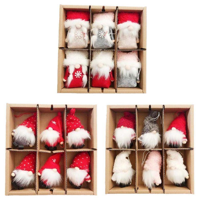 6 Pack Gnome Giocattoli di peluche di Natale appeso le decorazioni per l'albero di Natale del partito della casa Ornamenti bambini il regalo di natale