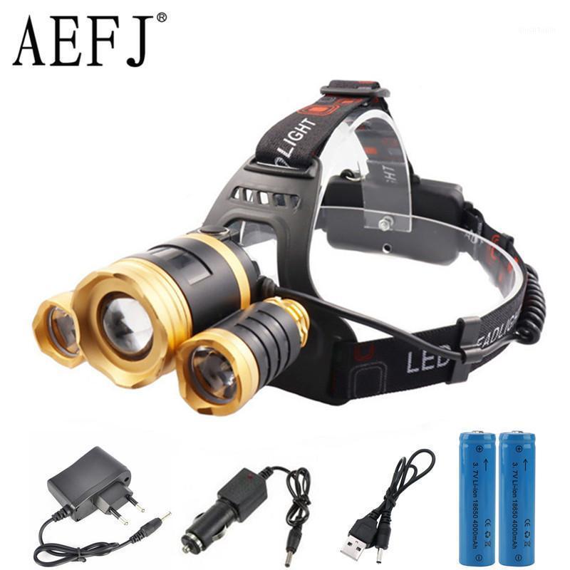 Headlamps Aefj mais poderoso LED farol farol 3led lâmpada t6 lâmpada tocha luz 18650 bateria para acampar, pesca1