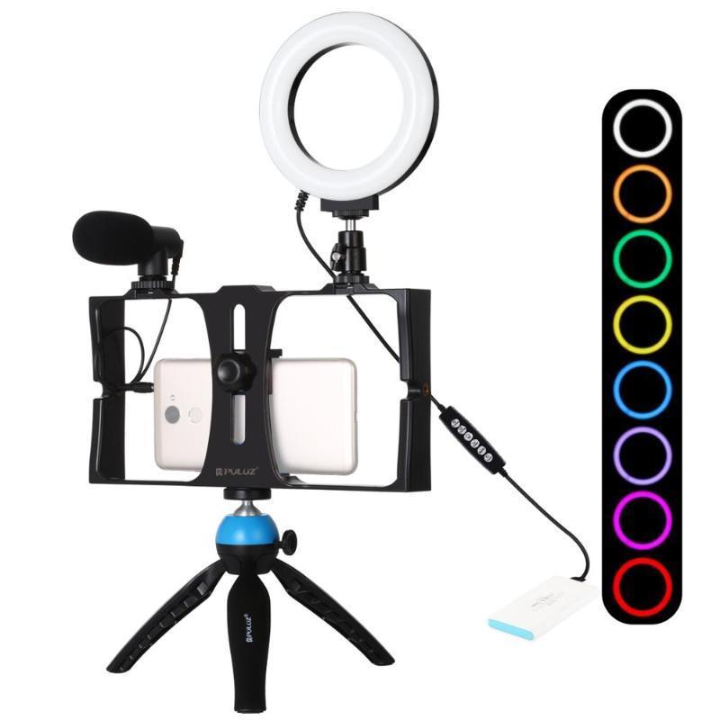 PULUZ 4 в 1 ведут видеоблог ТРАНСЛЯЦИЯ Smartphone Видео Rig +4,7 дюйма RGBW сеого Ring Light Микрофон Крепление штатива + штатив