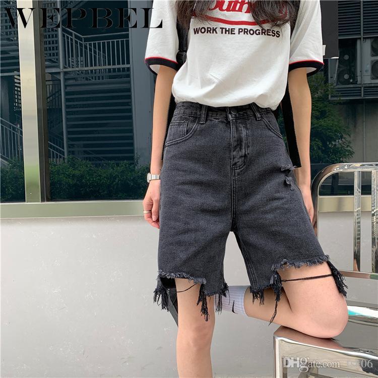 WEPBEL Estate Vintage Denim shorts a vita alta allentata femminile della nappa foro diritto pantaloni larghi del piedino shorts in denim