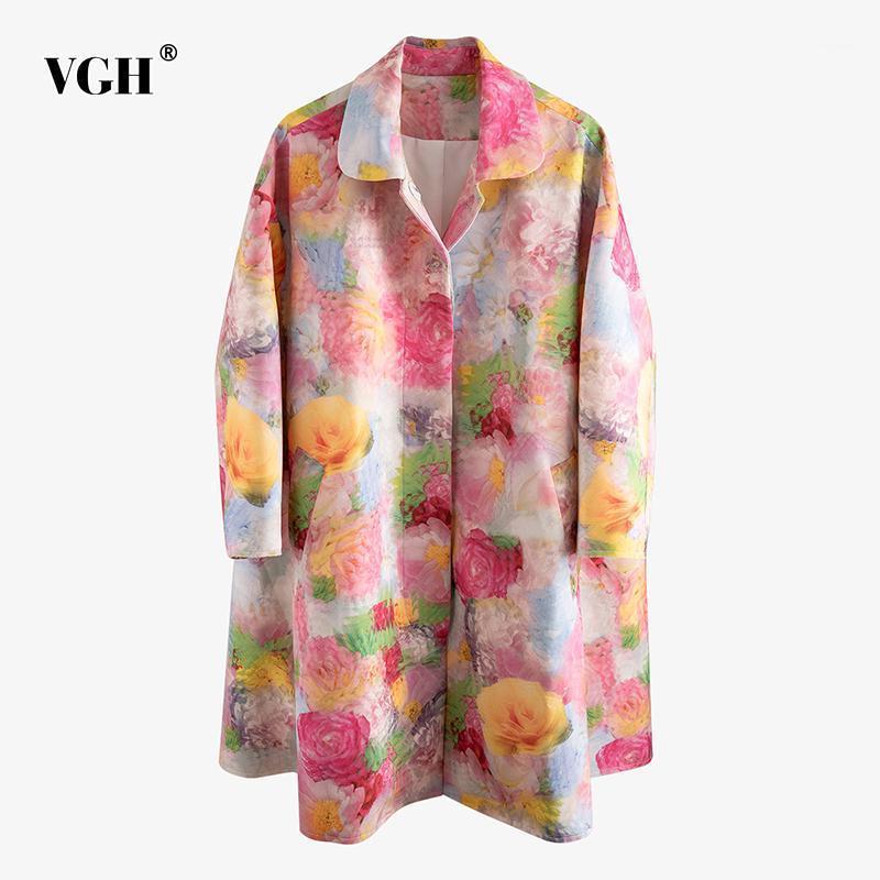 VGH Vintage Baskı Kadın Trençkot Yaka Yaka Uzun Kollu Gevşek Hit Renk Rüzgarlık Kadın Moda 2020 Yaz Giyim1