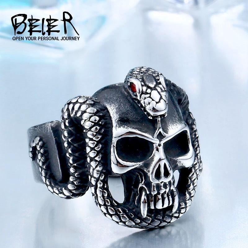 Кластерные кольца Beier ретро стиль из нержавеющей стали старинные змеи мужские кольца дьявол череп байкер изысканный ювелирные изделия BR8-4401