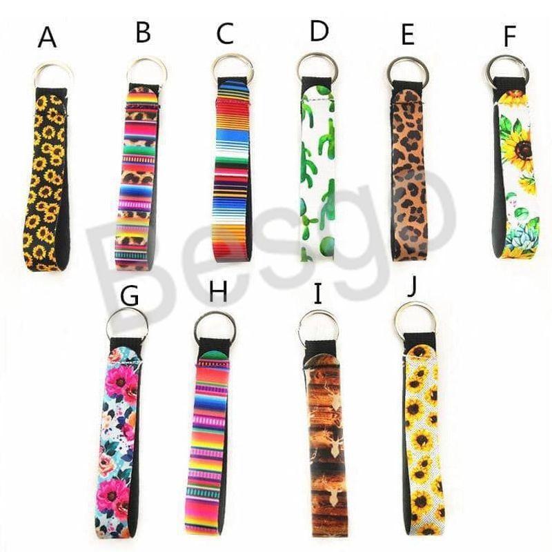 Neoprene Long Strip Keychain Multicolor Leopard Lanyard Wrist Small Pendant Sunflower Key Strip Wristlet Keyring BH4166 WXM
