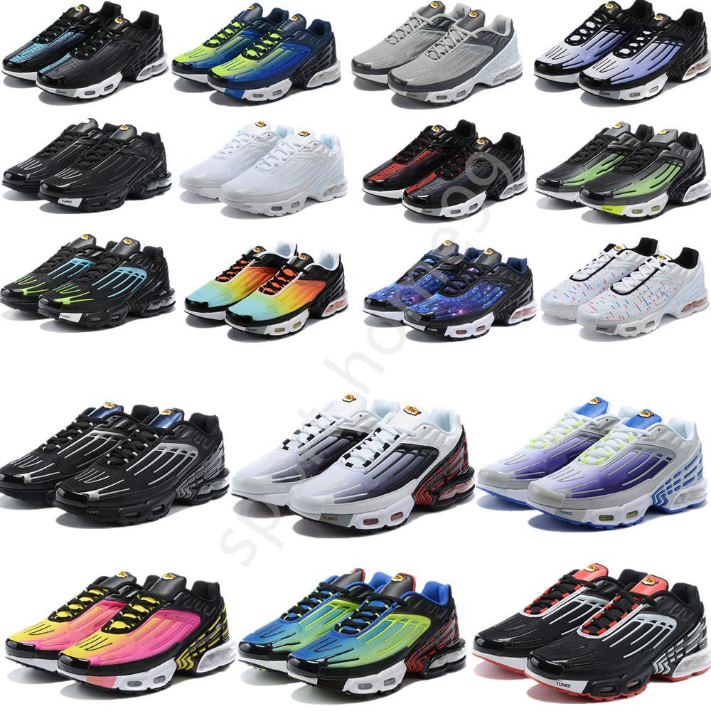 새로운 TN Plus 3 러닝 신발 남성 Chaussures 트리플 화이트 블랙 무지개 빛 녹색 녹색 OG 미국 네온 망 여성 트레이너 운동화 스포츠 36-45
