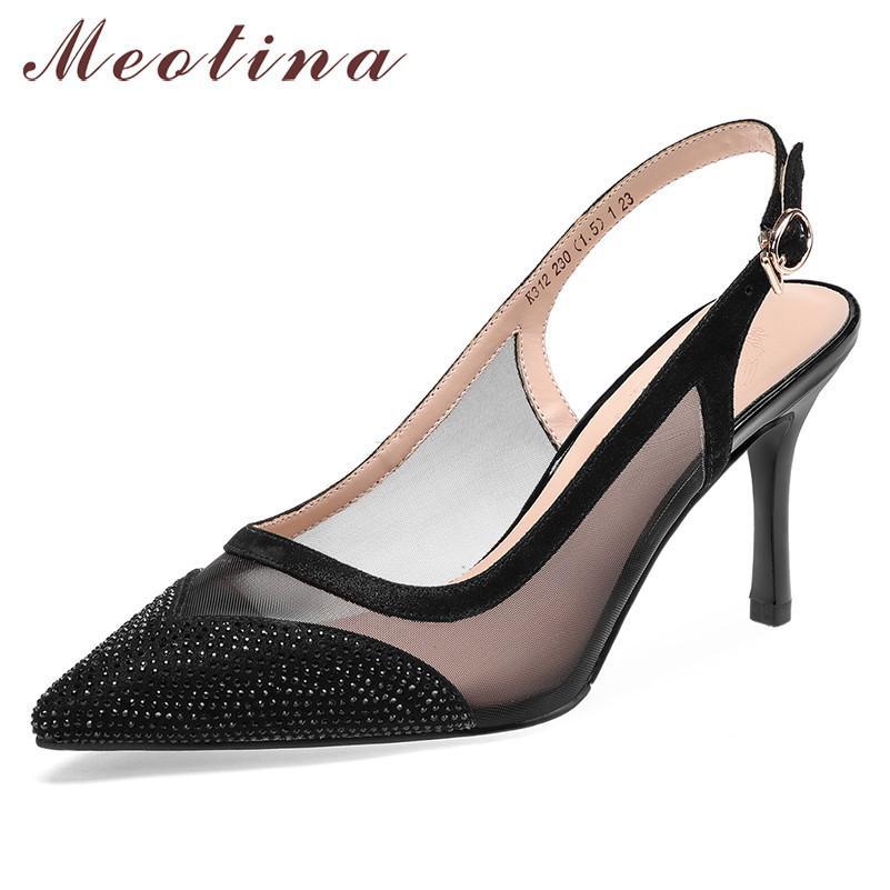 Femmes Pumps Naturel Véritable Cuir Boucle Mince High Heels Slingbacks Sheehin Crystal Chaussures Dames 39210