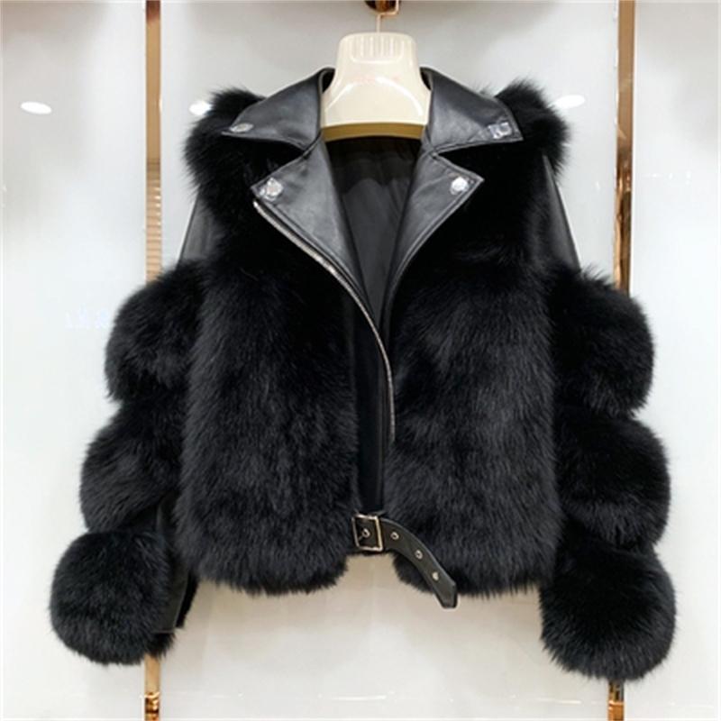 Настоящие лисицы меховые пальто с подлинной из овчины кожаная оптовая натуральная лисица меховая куртка вручную роскошные женщины зима новый lj201130