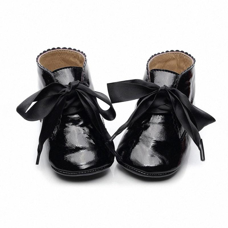 0-24M Baby Girl PU Leather Shoes Infant Non-slip Lace Soft Walking Shoes Toddler Kids Prewalker J8tt#