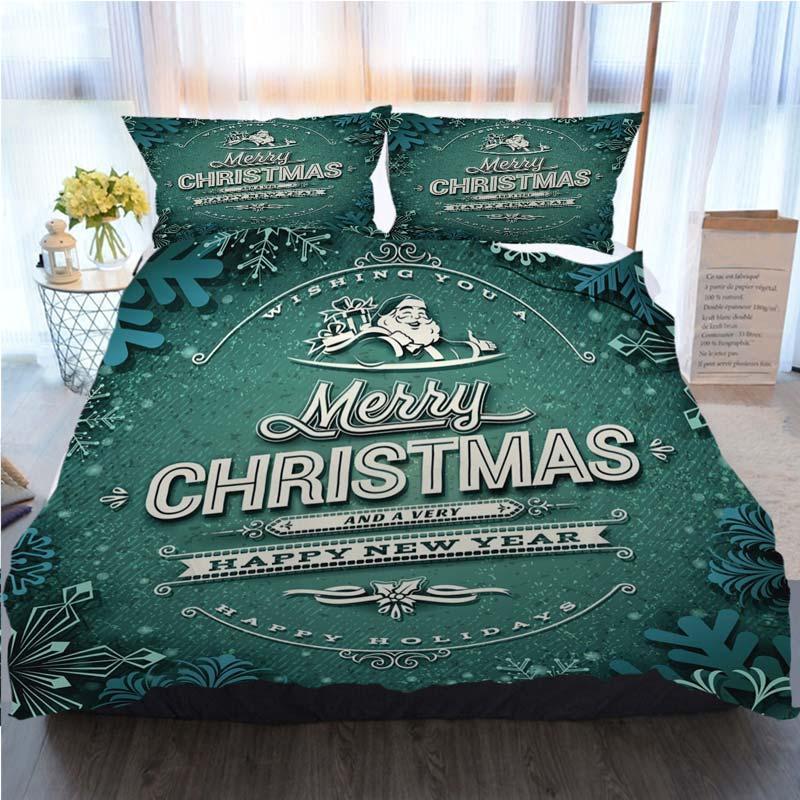 Conjunto de lujo tarjeta de Navidad Feliz Navidad funda nórdica cubierta del edredón funda de almohada Queen edredones Tamaño diseñador juegos de cama