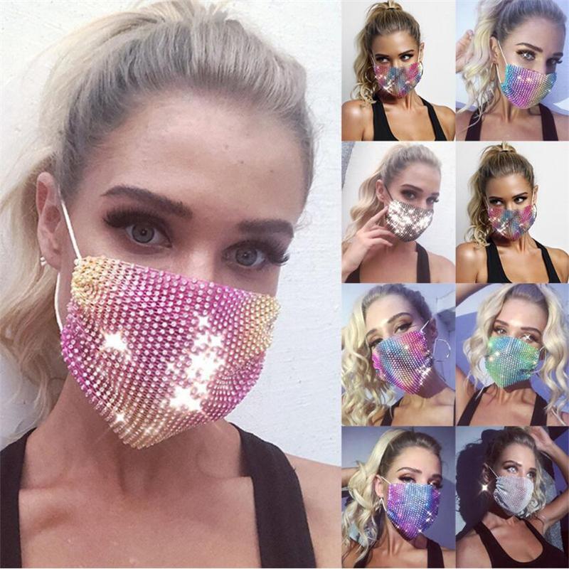 23 colores de máscara diamante Máscaras coloridas malla Bling Diamond Partido máscara Rhinestone cuadrícula neto Máscara lavable hueco atractiva Máscaras HWE2125