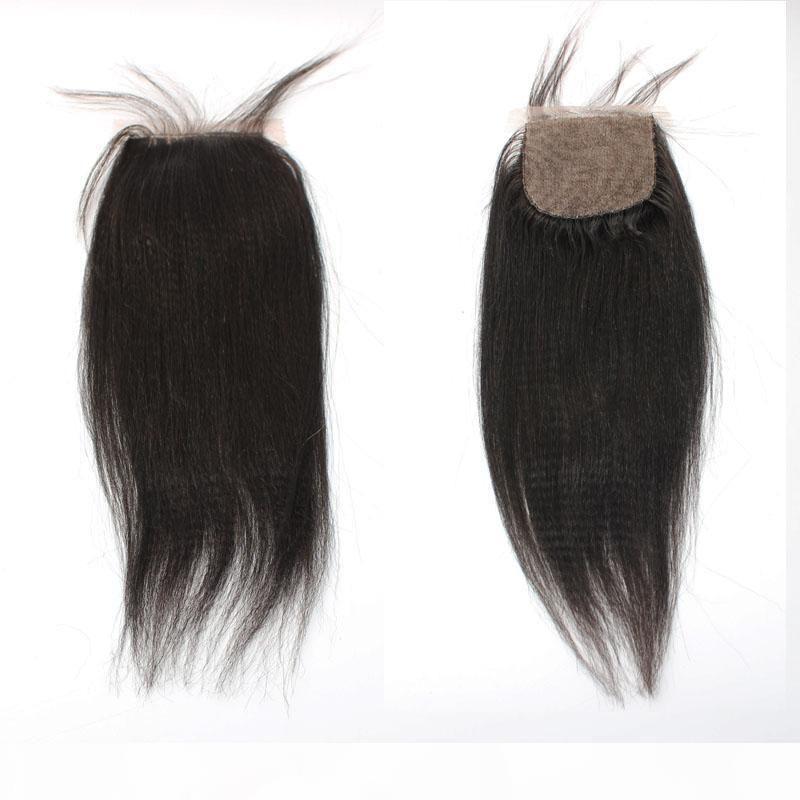 Capelli per bambini in anteriore yaki dritto diritto italiano yaki capelli umani capelli brasiliani chiusura di base di seta 4x4 freeting 3 parte