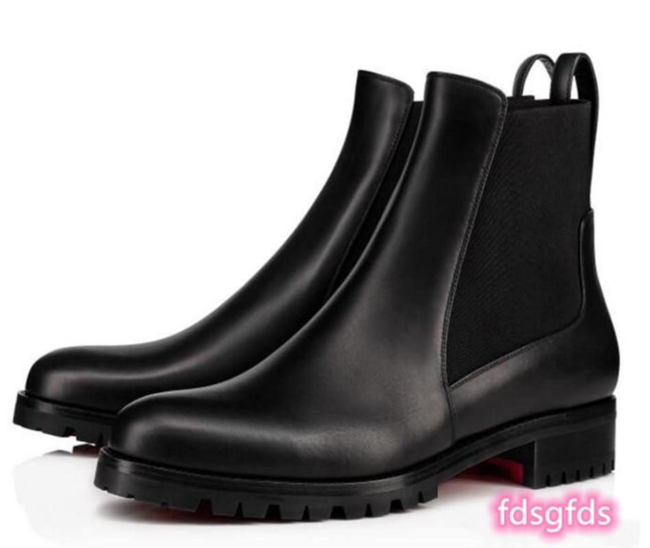 Elegante Marque Black Black Leder Rote Sohle Stiefel PROGETTISTA MOTIVE DAME Winterstiefel.