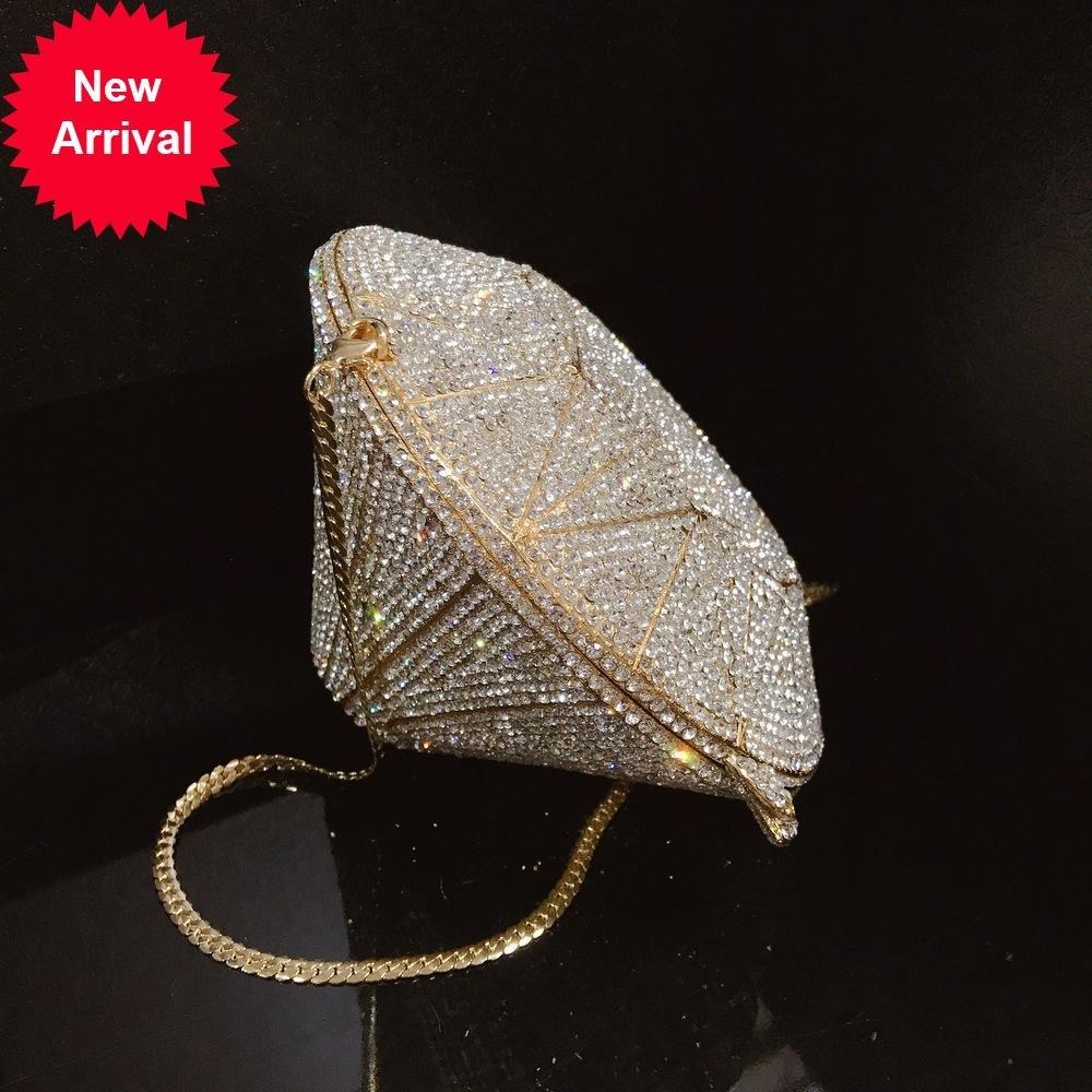 Luxo Alta Qualidade Bling Cool Daimond em forma de Metalic Sólido Daimonds Forma Sacos Noite Mini Audiere Mulheres Bolsas De Ombro
