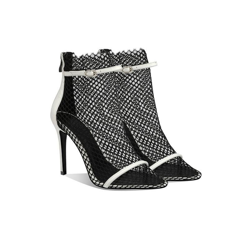 2021 Women's Black Mesh Fashion Toe High Heels Transparent Ankle Boots Party Sandals 580z