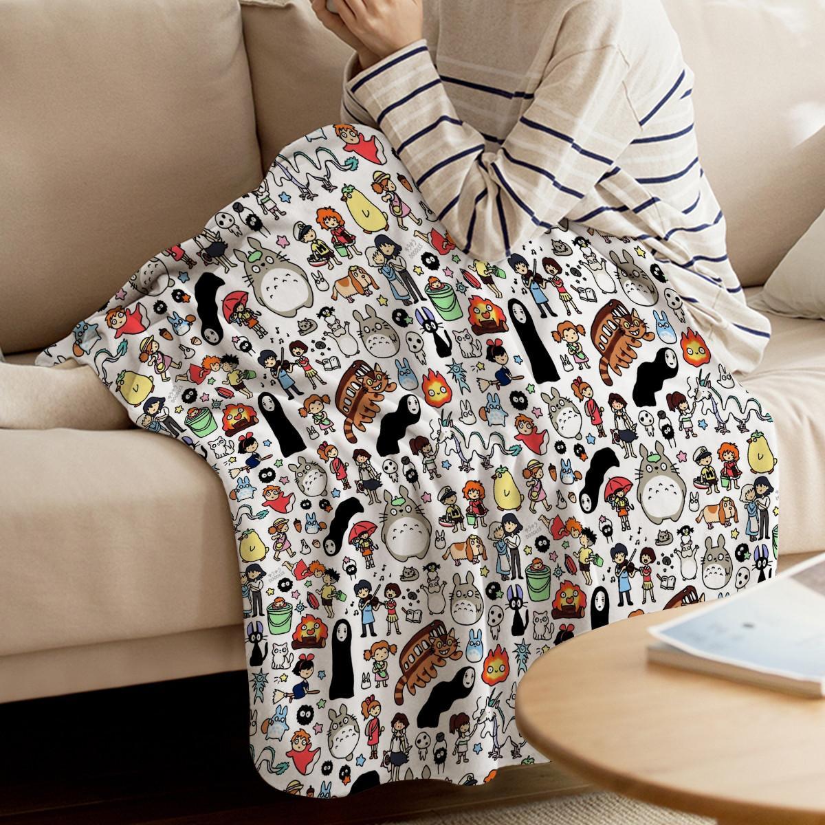 Kawaii Ghibli Doodle Throw Одеяло домашнее украшение Симпатичные персонажи мультфильмов Теплый микрофибры Одеяла для X1029 Спальня