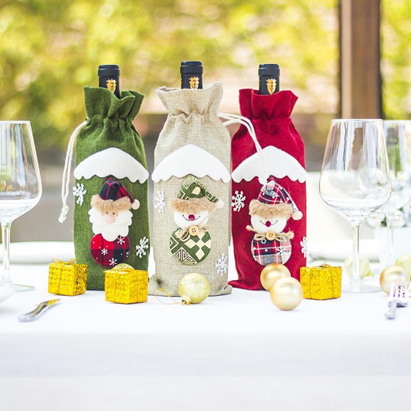 Şarap Şişesi Çanta Parti Malzemeleri Elk Santa Claus Noel Dekor Pamuk Keten Şampanya Paketi Süs Festivali Yemek Masası