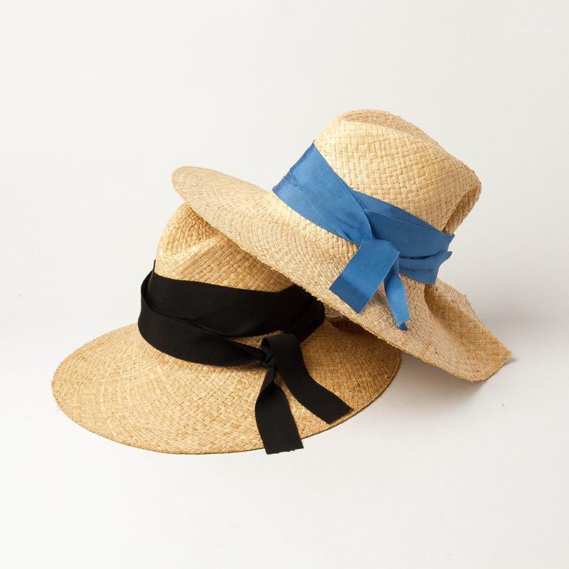 01912-HH7400 Mano Rafia Raffia Hierba Estilo de diseñador Doble Bowknot Modelo Lady Fedoras Cap Mujer Playa Plana Ocio Hat1