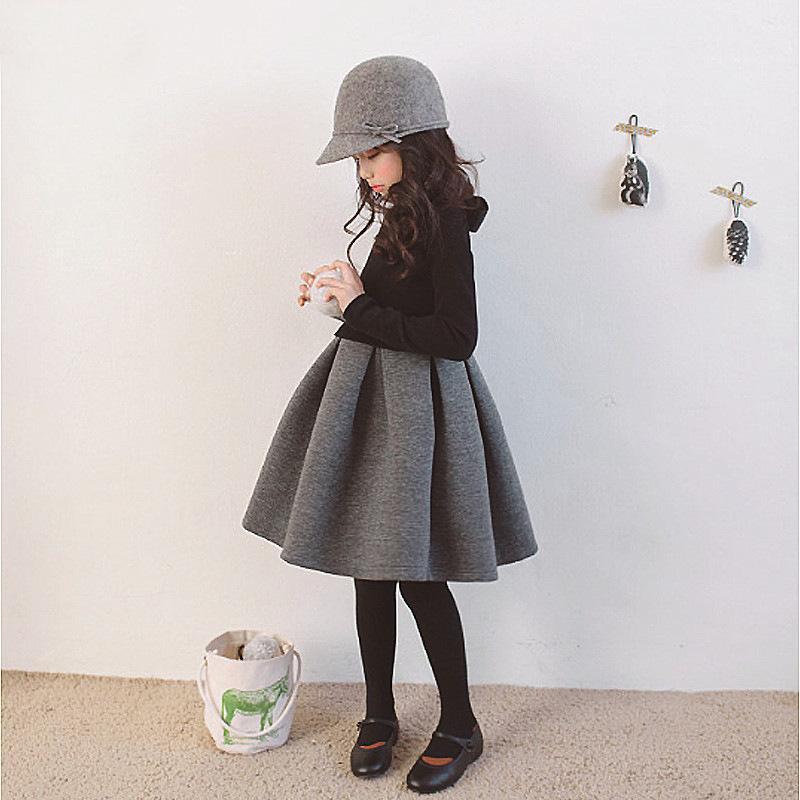 vestido novo inverno quente das meninas com cashmere, vestido na altura do joelho sem cashmere no outono, terno de roupas infantis saia 3-12T set bebê