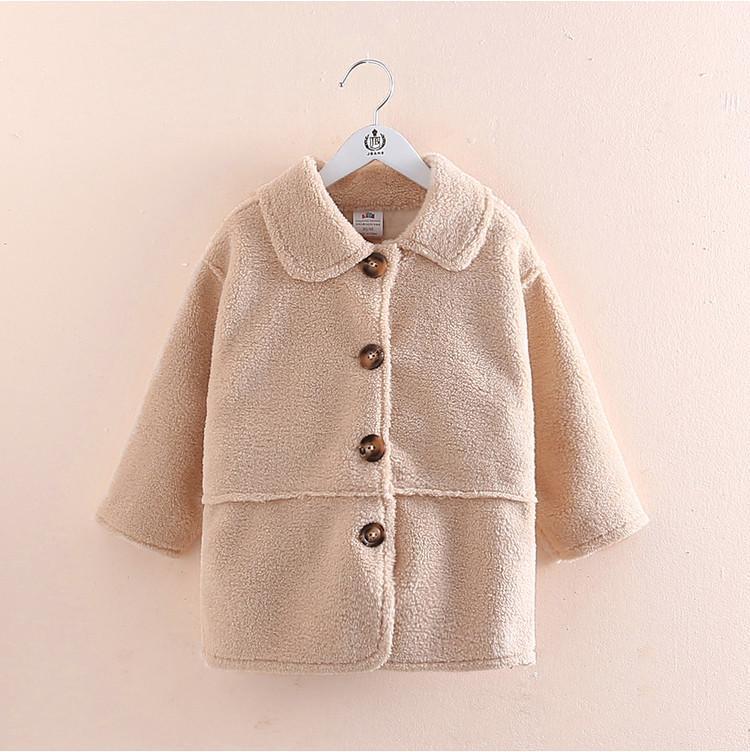 2021 Nuevo estilo de abrigo de lana de cordero de invierno para niñas, niños, además de chaquetas de terciopelo para 2-8 años, espesos, abrigos de bolsillos de vellón.