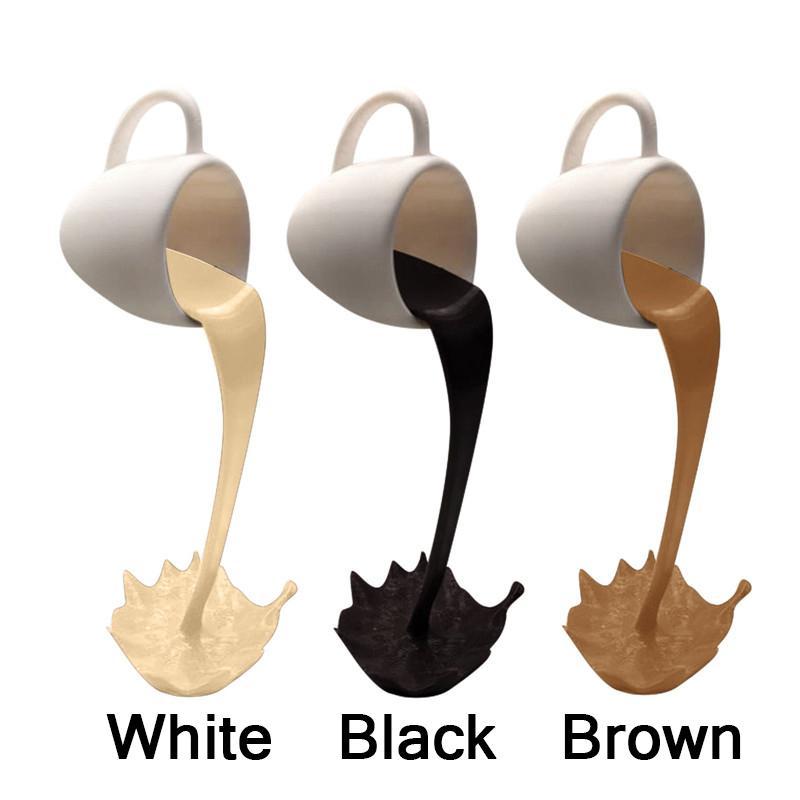 3 cores flutuando derramando xícara de café escultura decoração de cozinha derramando o respingo de derramamento mágico