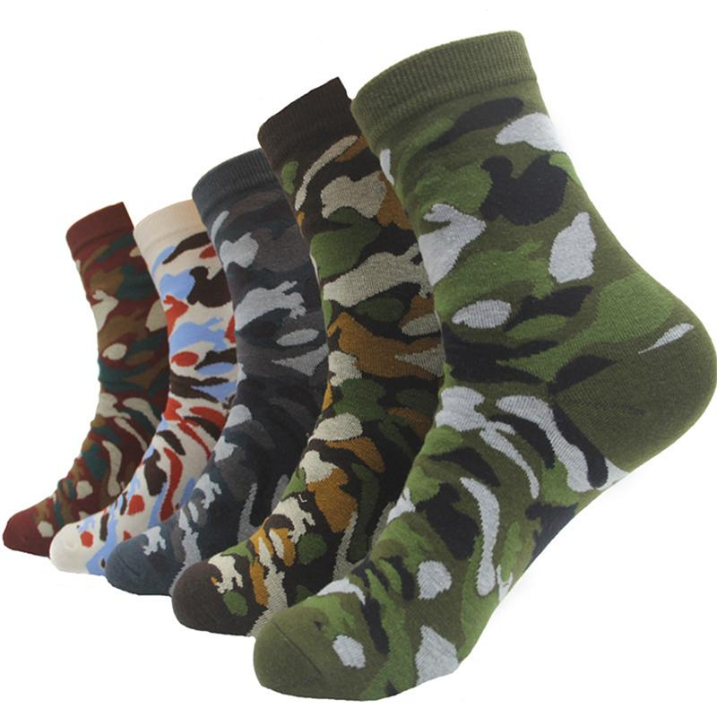 10 Pairs Camouflage Funny Catoon Men Outdoor Sports Jungle Walking Army Green Clothing Shoes Socks