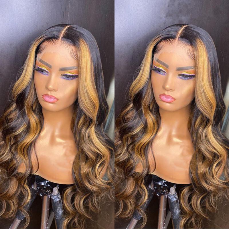 Peluca delantera del cordón de dos tonos Ombre Resaltar sin cola suelta la onda 10A china pelo humano de Remy pelucas de encaje para la Mujer Negro Aqui