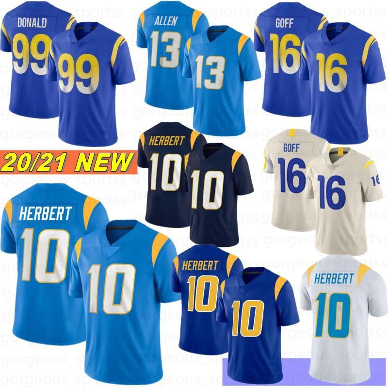 10 Justin Herbert 13 Keenan Allen 99 Aaron Donald Homens Futebol Jerseys 16 Jared Goff 97 Joey Bosa 33 Derwin 2021 Nova Camisetas de Fútbol