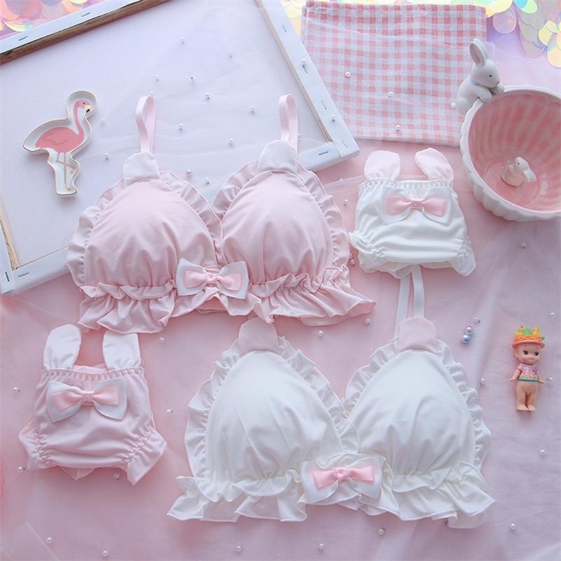 Japonais fille coeur molle mignonne lapin oreilles no litiser loli étudiant mignon sœur molle soeur lolita triangle tasse soutien-gorge lj201210
