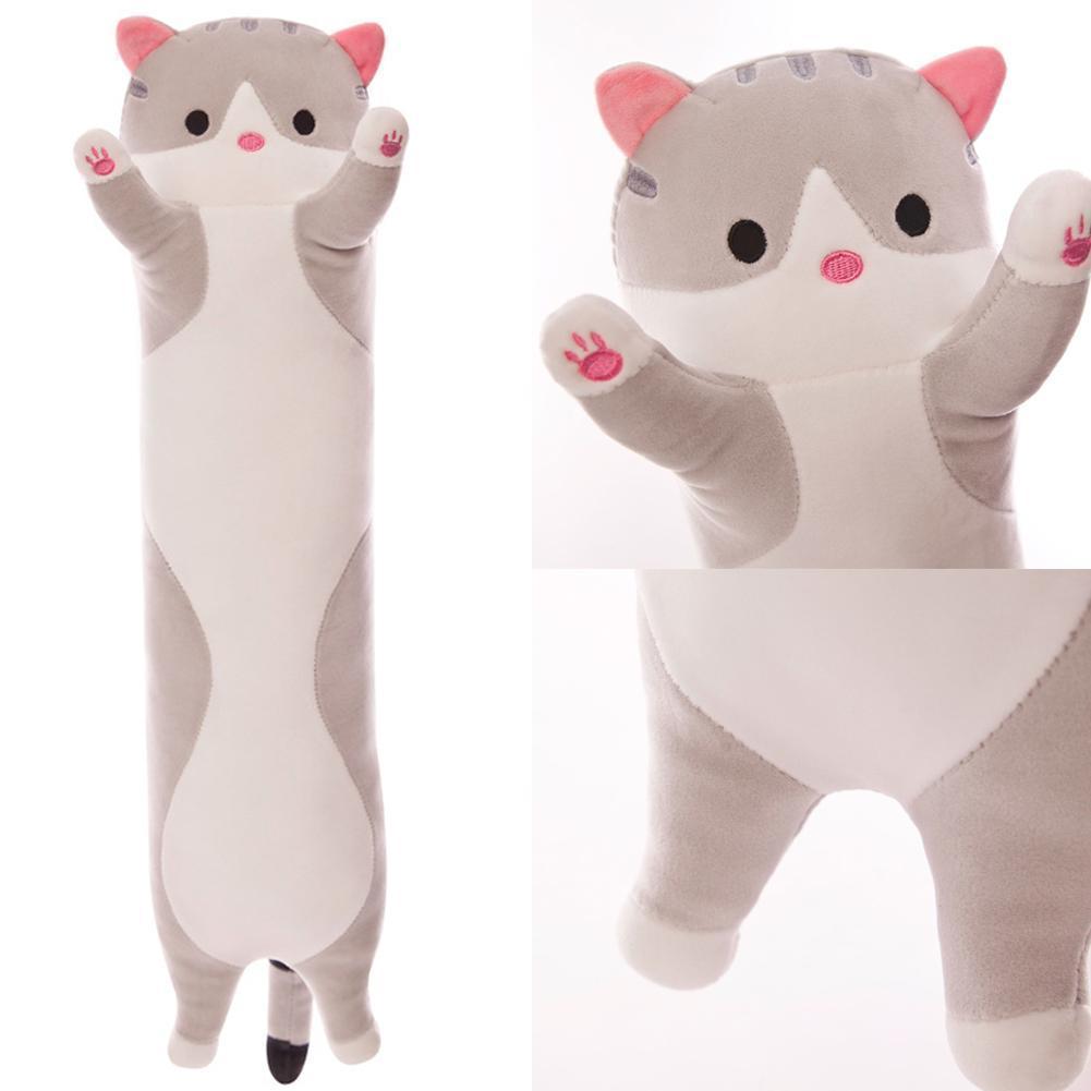 50cm Long Cute Creative Cat Plush Pillow Toy Soft Stuffed Pillow Doll Cushion Sleeping Kitten Pillow Sleeping Hug Lazy Gift V6L1 T200603