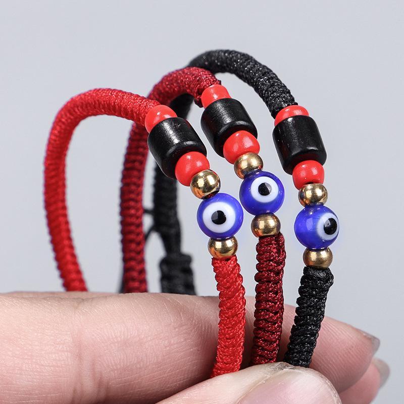 Corde rouge tibétain bouddhiste Bracelets Amour chanceux Amitié Bracelets Mal Charm Bracelet Jade Blue Eye Enfilez Bracelet pour Bijoux Femmes Hommes