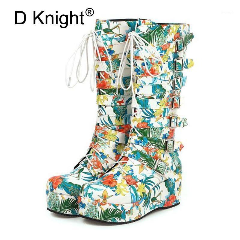 Plus Size 33-45 Stivali da donna Boots Colorful Stampa Cunei Stivali da donna Tacco alto Nuova Moda Moda Balzata Tondo Piattaforma Plated Shoes Femmina1