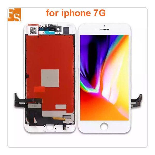 مجموعة كاملة عالية الجودة LCD لفون 7 7 زائد شاشة محول الأرقام كاملة التجمع الكامل مع الكاميرا الأمامية + لوحة الخلفية اختبار واحد تلو الآخر