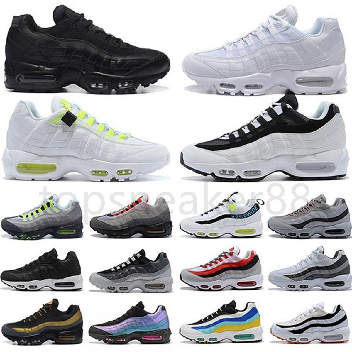 Bonne Qualité 95 Chaussures de course Trois néons noirs et blancs Laser Purple Pochette Élevage Aqua 95S Chaussures de sport pour hommes Chaussures de sport Chaussu