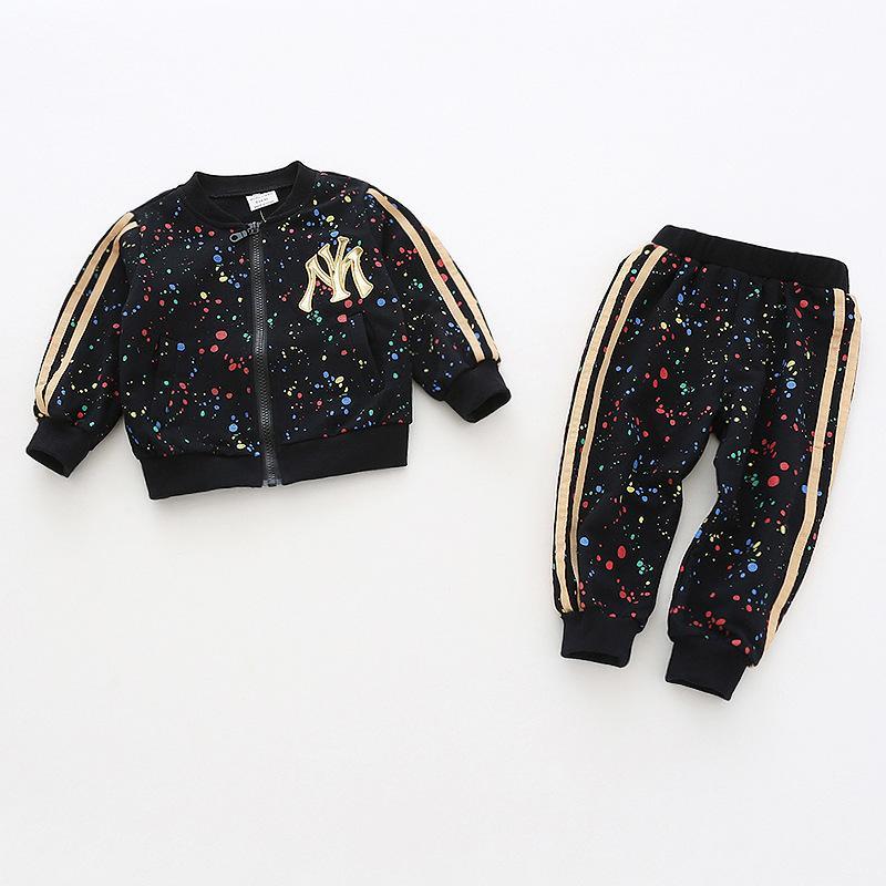 Criança Meninas vestuário Define 2018 Outono meninas roupas de inverno Zipper Casaco + calças Crianças Treino Meninas Esporte Suit Crianças Costume Y190518
