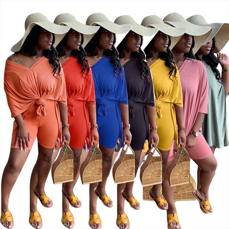 2020 Mulheres Define Verão Fatos da aptidão Sportswear solto Tops Shorts terno Two Piece Set 2 Pcs Night Club partido Conjuntos GL10873