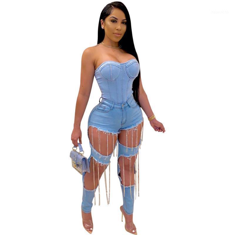 HHDMV Summer Women 2020 Moda Vendita calda Riduzione della Età Hip Hop Style Pantaloni Lunghi Pulsanti Pulsanti a vita alta Foro rotto Pantaloni lunghi 1