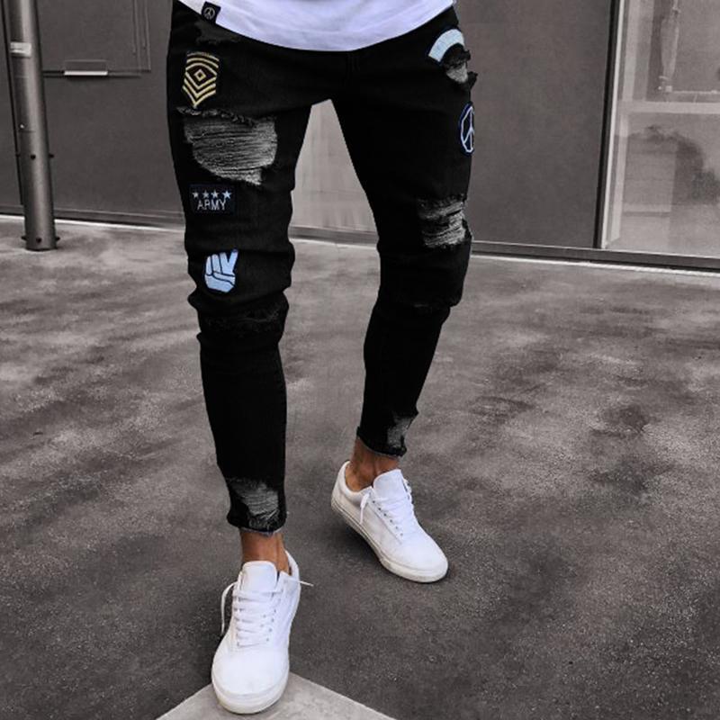 Männer Jeans zerrissen Männer Biker Patchwork Black Denim Hosen Jogger Skinny Streetwear Blue Hose Mode Casual Slim Fit Kleidung