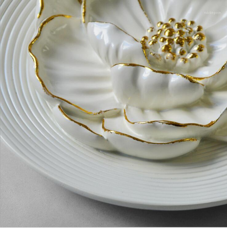 Adesivi murali Resina europea Resina fiore di loto appeso artigianato decorazione domestica soggiorno murale ornamenti el club sticker ciondolo1