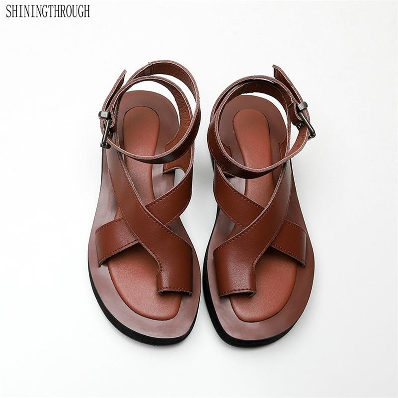 100% корова кожа плоская платформа сандалии женщина обувь мода женские вечеринки платье обувь женщина летний стиль женщины флип-флоп lj200828
