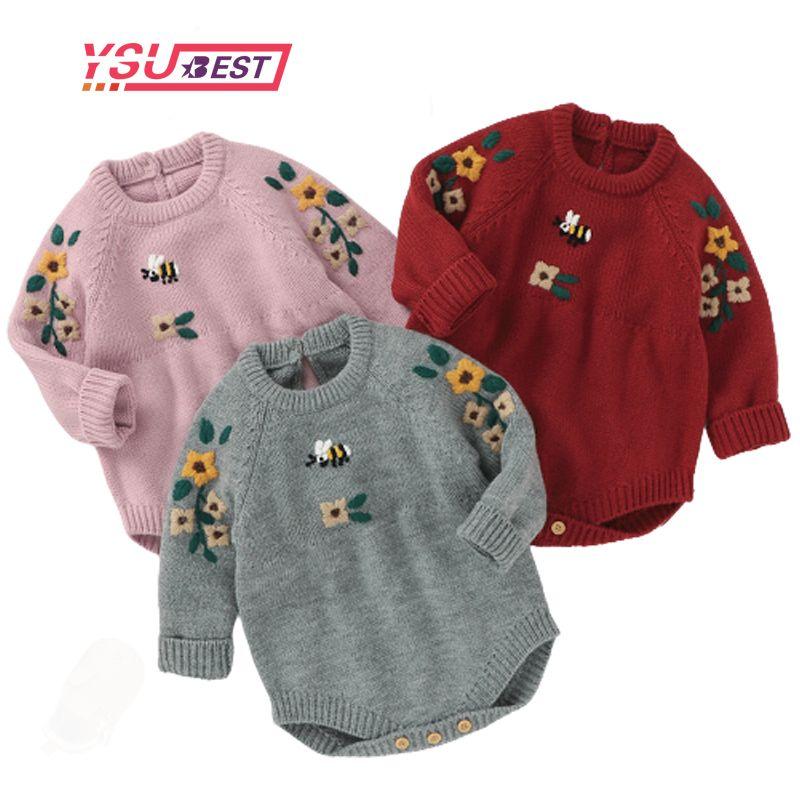 Herbst Baby Jumpsuit Baby Kleidung Langarm Neugeborenen Stickerei Herbst Gestrickte Strampler Baby Mädchen Kleidung Säuglingskleidung Y1219