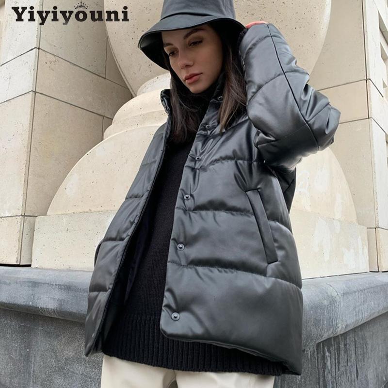 Yiyiyouni inverno quente algodão algodão jaquetas de couro mulheres espessamento casual parkas acolchoado mulheres revestimentos sólidos de grandes dimensões feminino 2020