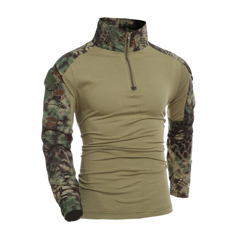 قمصان في الهواء الطلق التمويه kryptek mandrake التكتيكية قميص طويل الأكمام t الرجال القتال موحد الصيد الجيش تي شيرت