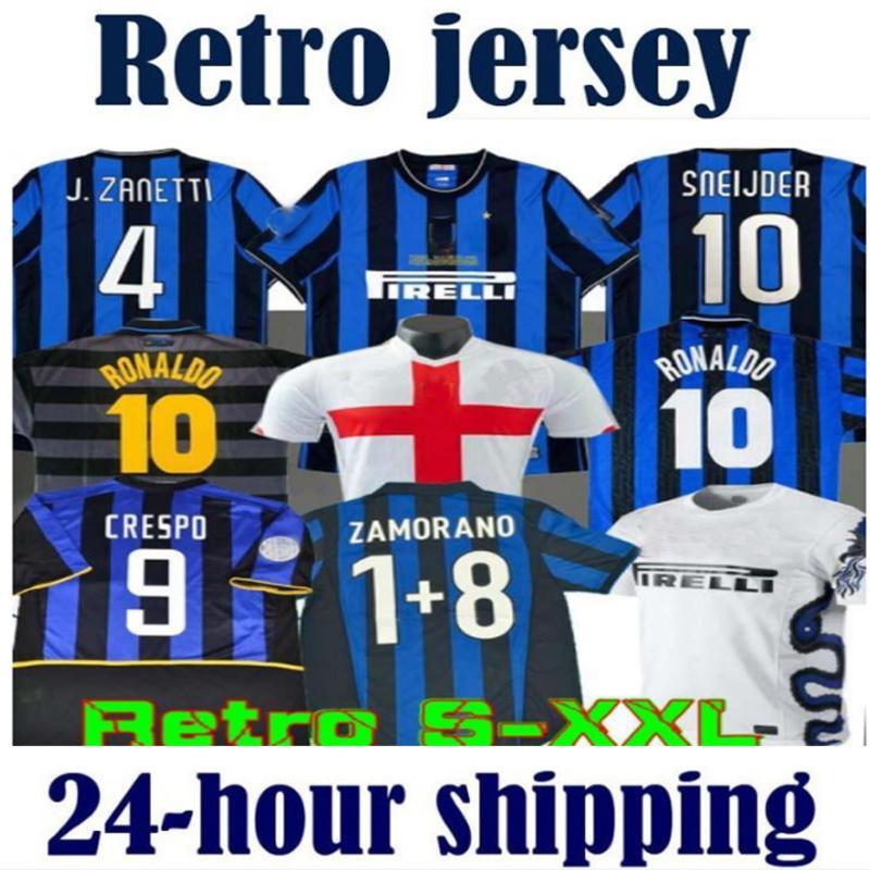 Retro Version 2009 2010 Milito Sneijder Zanetti Soccer Jersey Pizarro Futbolu 1997 1998 97 98 99 Djorkaeff Baggio Ronaldo Inter 02 03