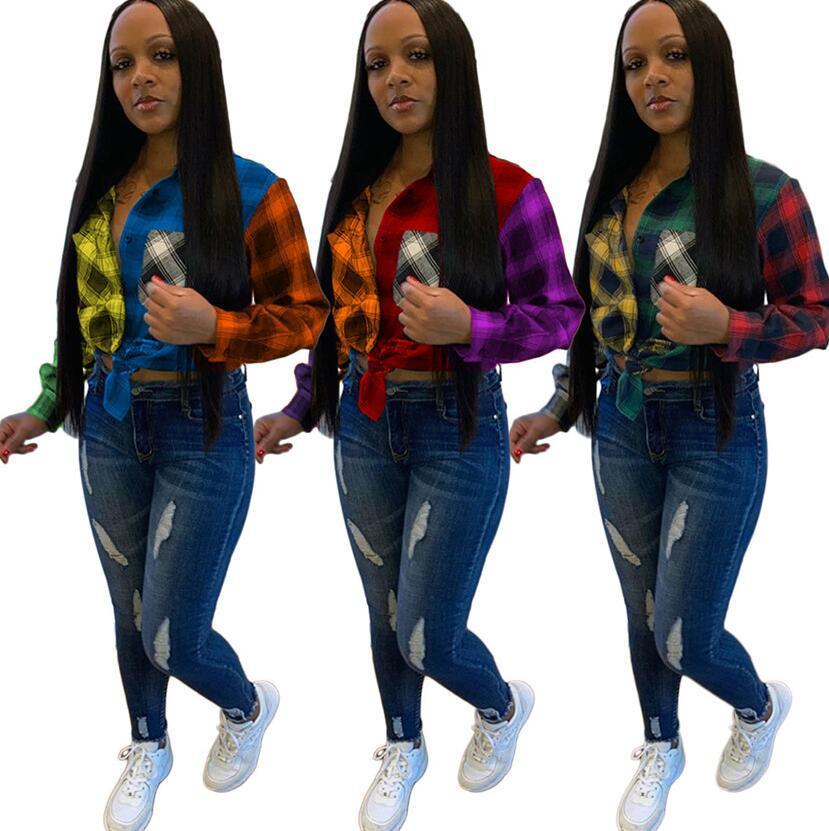 Fashion Womens Tops Blouses Plaid Patchwork Color Long Sleeves Plus Size Autumn Winter Women Lady shirt Casual Female Blouse S-4XL F101906