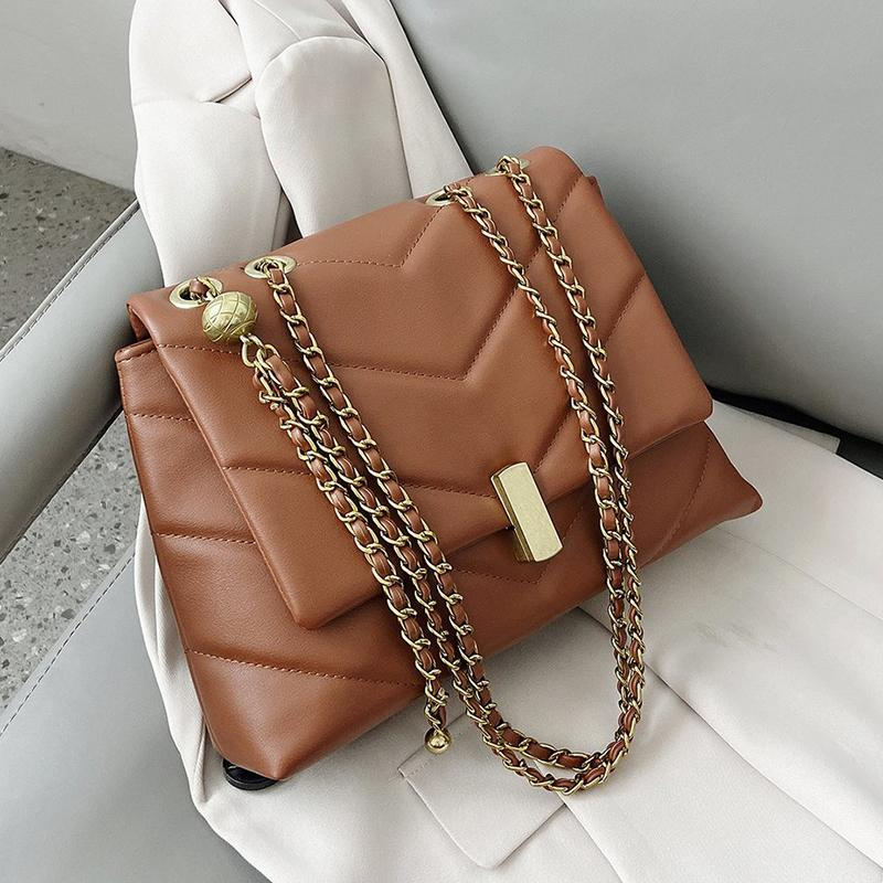 Chain Vintage Designer PU Sacs Crossbody cuir pour femmes 2021 sacs à main tendance hiver de femme de marque Trending Cross Body Bag Q1106