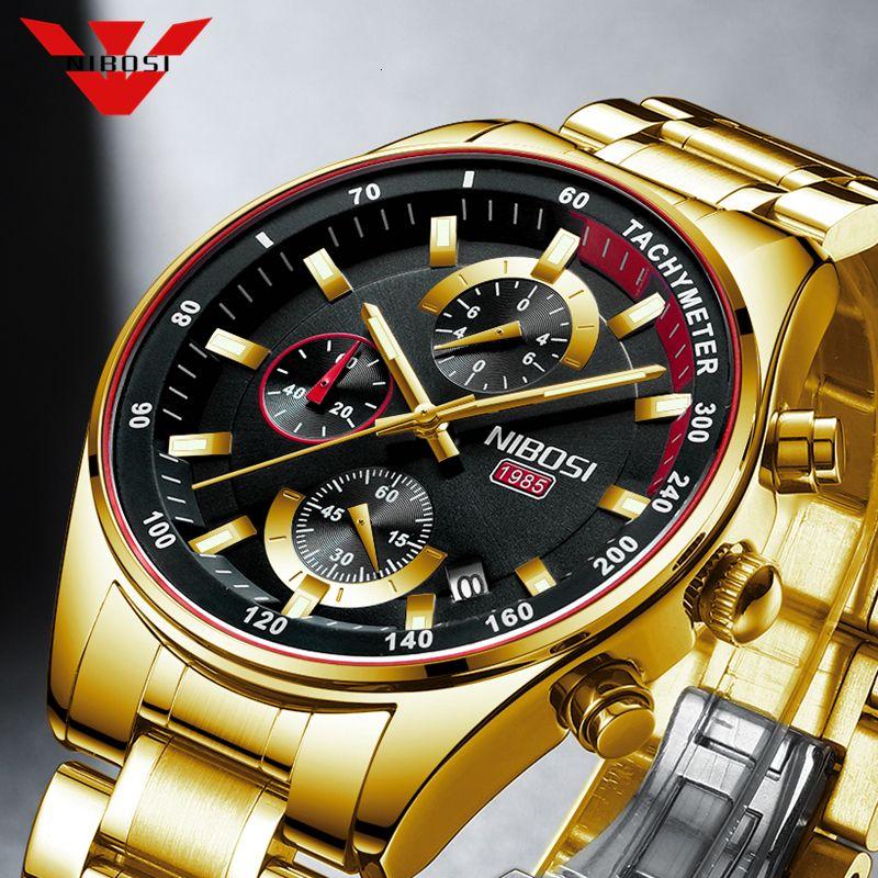 Nibosi Mode-Männer Uhr-Spitzenmarken Luxus-Handgelenk-Quarz-Uhr Gold-Uhr-Mann-wasserdichter Chronograph Relogio Masculino