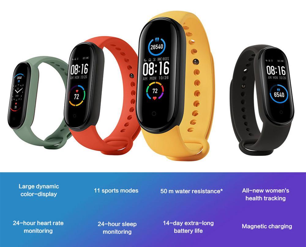 2020 Xiaomi Mi Band 5 Smart-Armband 4 Farbe AMOLED Bildschirm Miband 5 Fitness Tracker Sport-wasserdicht Smartband Bluetooth 5,0-1