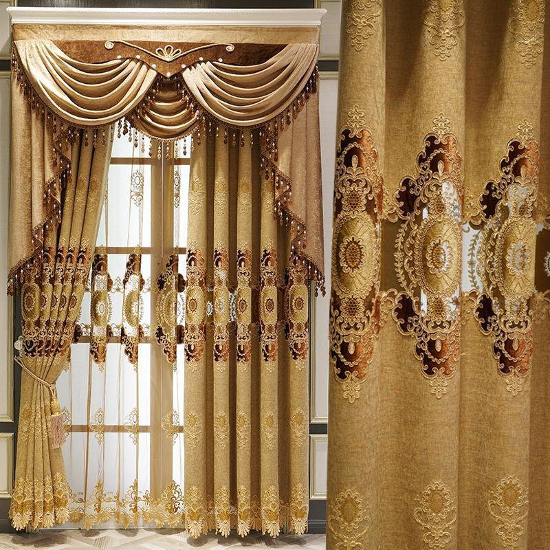 Роскошный Высококлассные европейская Вышивка Штора для гостиной Столовой Спальни Shade Валанс Пользовательских волн Golden Кастомизации